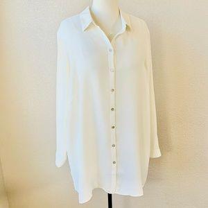 J Jill Blouse Sz 2x 2xl Button Down Ivory Shirt